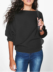 Autumn Winter  Acrylic  Women  Boat Neck  Plain  Batwing Sleeve Long Sleeve T-Shirts