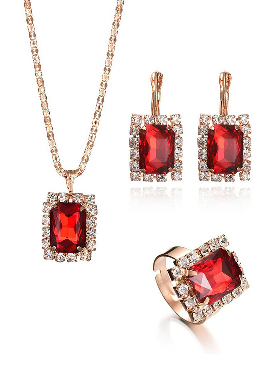 Rhinestone Faux Crystal Necklace Ring And Earring