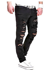 Ripped  Plaid  Straight  Mid-Rise Men's Jeans