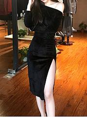 One-Shoulder-Side-Slit-Plain-Bodycon-Dresses