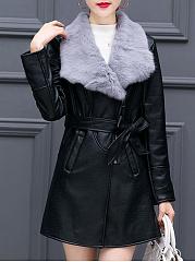 Lapel-Zips-Belt-PU-Leather-Coat