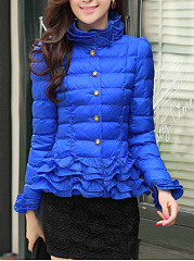 High-Neck-Solid-Quilted-Ruffle-Trim-Padded-Coat