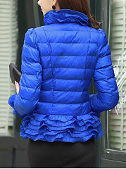 High Neck Solid Quilted Ruffle Trim Padded Coat