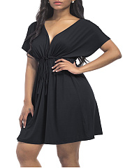 Deep V-Neck Drawstring Plain Plus Size Flared Dress