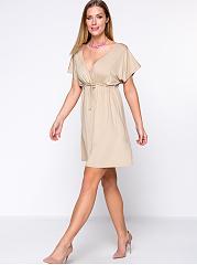 Deep-V-Neck-Drawstring-Plain-Plus-Size-Flared-Dress