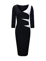 Graceful-V-Neck-Color-Block-Bodycon-Dress
