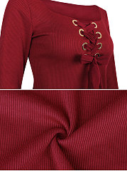 Autumn Spring  Polyester  Women  Square Neck  Bowknot Drawstring  Plain Long Sleeve T-Shirts