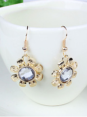 Rhinestone Rose Hollow Out Earrings And Necklace Set