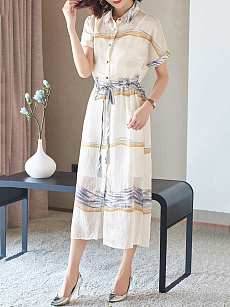 Turn Down Collar  Drawstring  Printed Two-Piece Maxi Dress