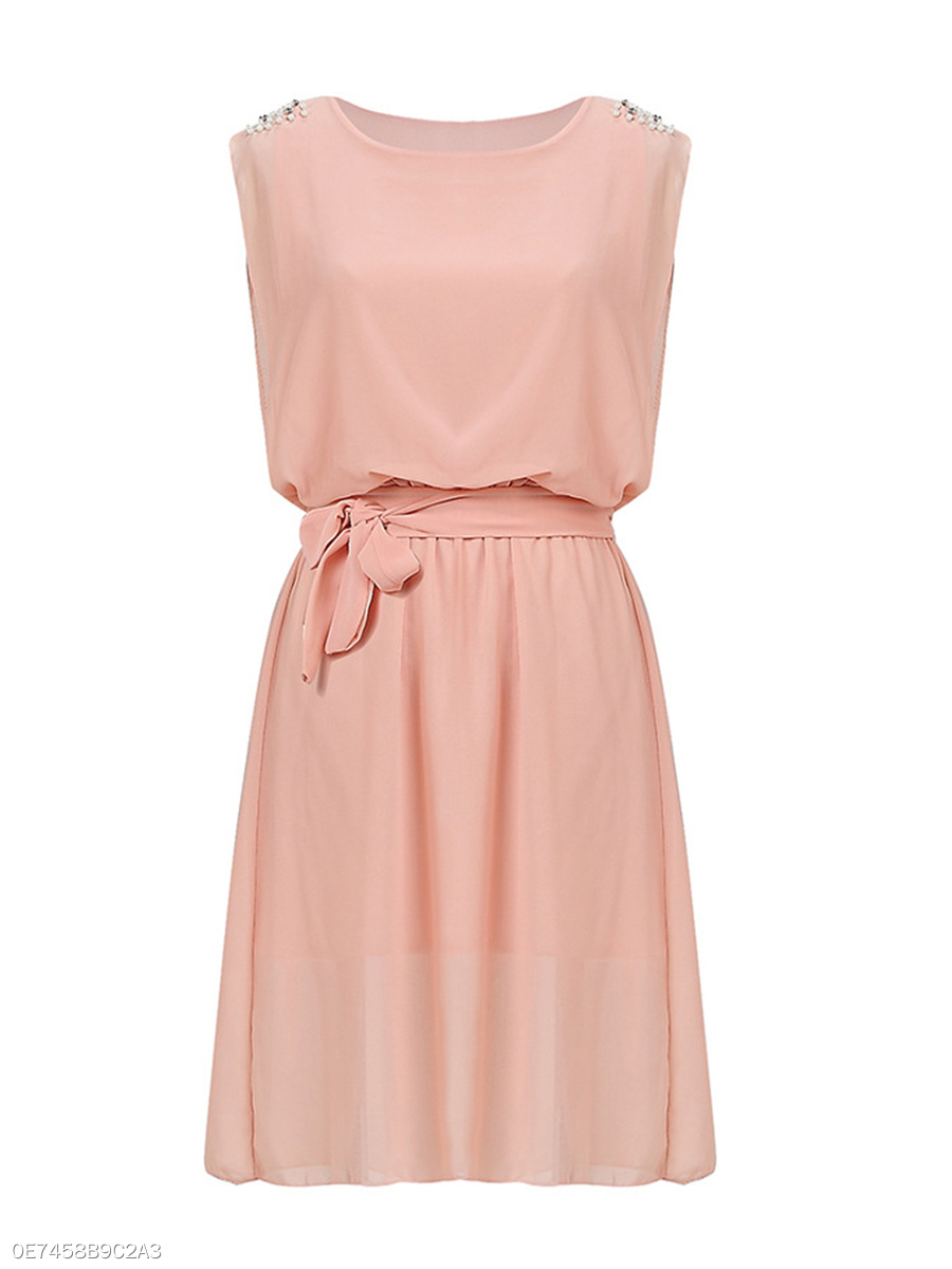 Beading  Plain  Chiffon Round Neck  Skater Dress