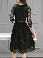 Round Neck Plain Lace Hollow Out Belt Skater Dress