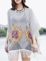 Lightweight  Abstract Print  Kimono Sleeve  Half Sleeve Tunic