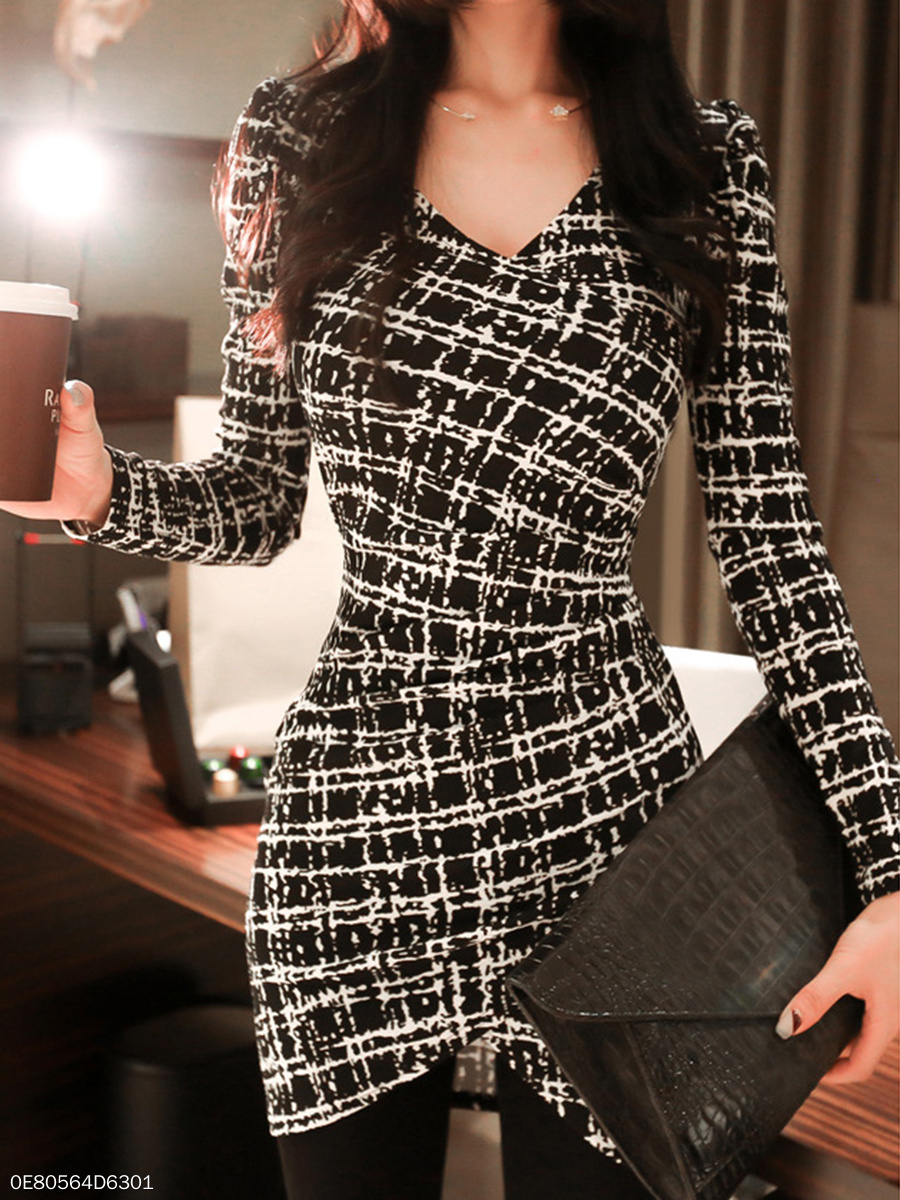 Surplice  Plaid  Blend Bodycon Dress