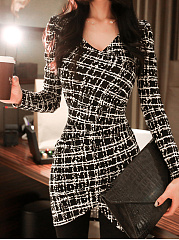 Surplice-Plaid-Blend-Bodycon-Dress