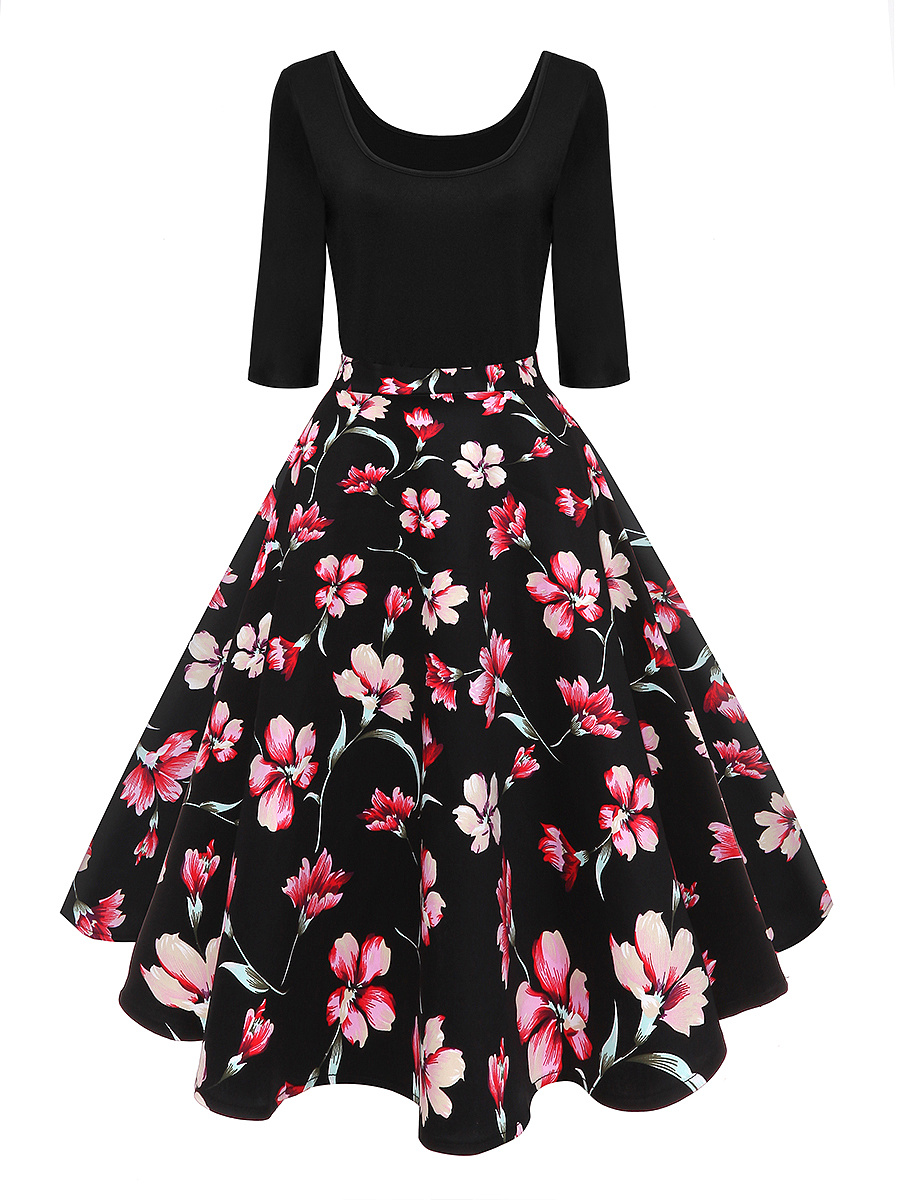 Round Neck  Patchwork  Floral Printed  Cotton Skater Dress