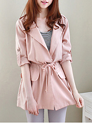 Fold-Over-Collar-Drawstring-Plain-Long-Sleeve-Trench-Coats