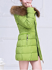 Hooded Zipspocket Plain Quilted Padded Coat