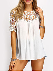 Summer  Polyester  Women  Round Neck  Decorative Lace  Hollow Out Plain Blouses