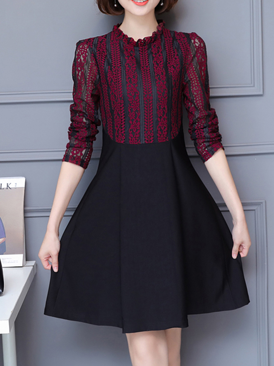 Round Neck Patchwork Hollow Out Skater Dress