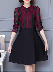 Round-Neck-Patchwork-Hollow-Out-Skater-Dress