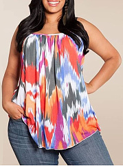 Spaghetti Strap  Ikat  Sleeveless Plus Size T-Shirts