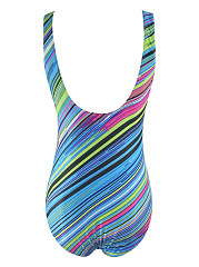 Colorful Printed One Piece With Scoop Neck And Back