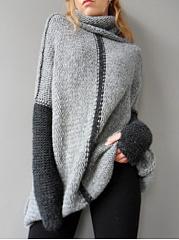 Oversized-Turtleneck-Color-Block-Sweater