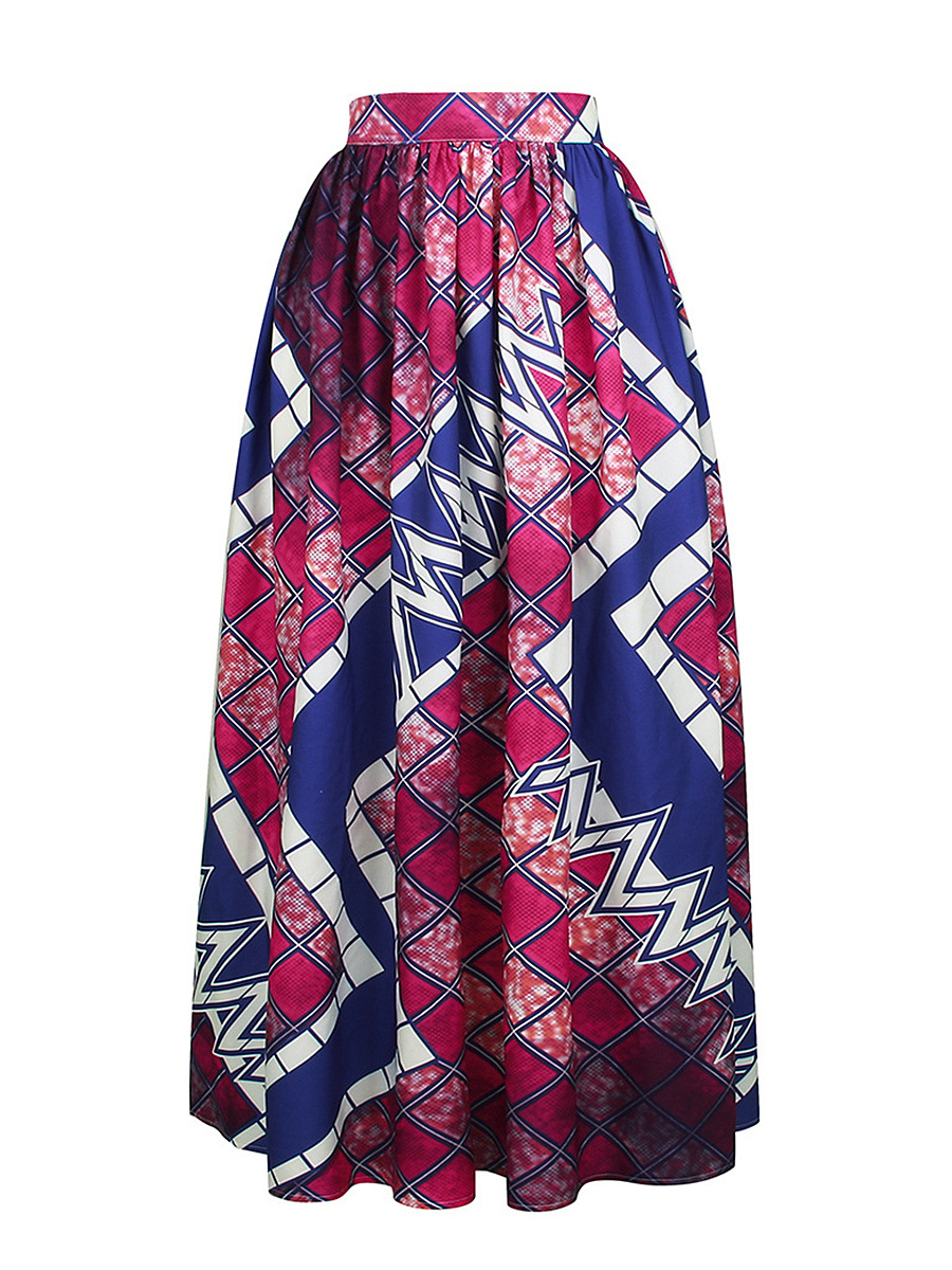 Elastic Waist Geometric Printed Pleated High-Rise Maxi Skirt