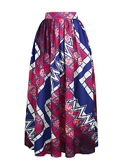Elastic-Waist-Geometric-Printed-Pleated-High-Rise-Maxi-Skirt