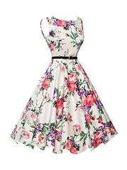 Colorful Floral Printed Boat Neck Skater Dress