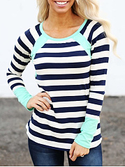 Autumn Spring  Cotton  Women  Round Neck  Color Block Striped Long Sleeve T-Shirts