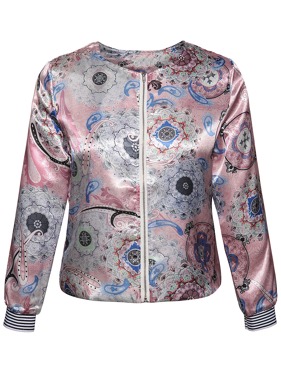 Collarless Zips Paisley Printed Jacket