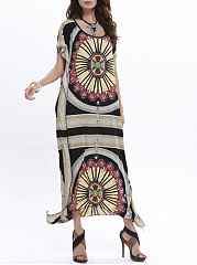 Loose Scoop Neck Two Way Tribal Printed Maxi Dress