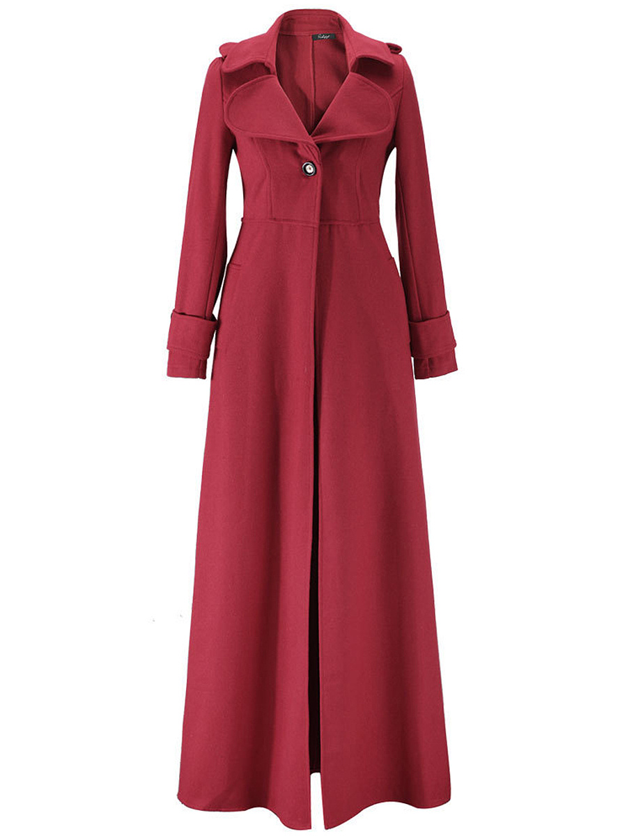 Lapel Single Button Plain Wool-Like Duster Coat