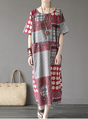 Linen Round Neck  Printed Maxi Dress