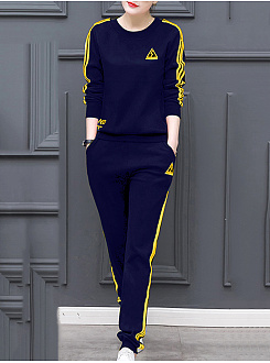 Round Neck  Contrast Trim Sweatshirt Suit
