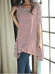 Summer  Polyester  Women  Round Neck  Asymmetric Hem  Striped Short Sleeve T-Shirts