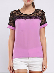Summer  Polyester  Women  Round Neck  Decorative Lace  Plain Short Sleeve T-Shirts