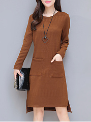Round-Neck-Patch-Pocket-Plain-High-Low-Shift-Dress