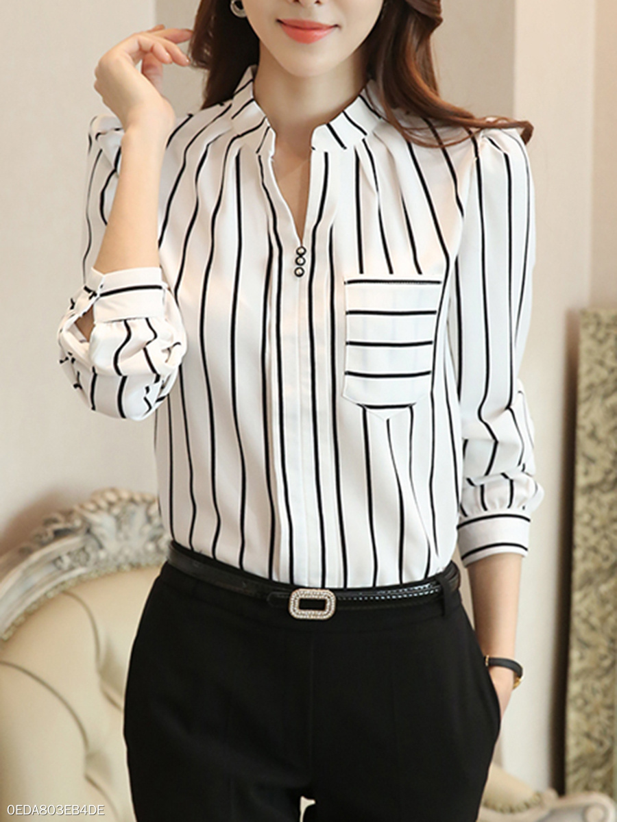 Autumn Spring Chiffon Women Split Neck Patch Pocket Striped Long Sleeve  Blouses0EDA803EB4DE c455cfdcdec4
