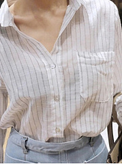 Autumn Spring Summer  Cotton  Women  Turn Down Collar  Striped  Long Sleeve Blouses