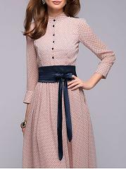 Band Collar  Belt Decorative Button  Polka Dot Evening Dress