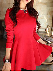 Round Neck  Ruffled Hem  Plain Skater Dress
