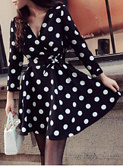 Surplice  Polka Dot Skater Dress