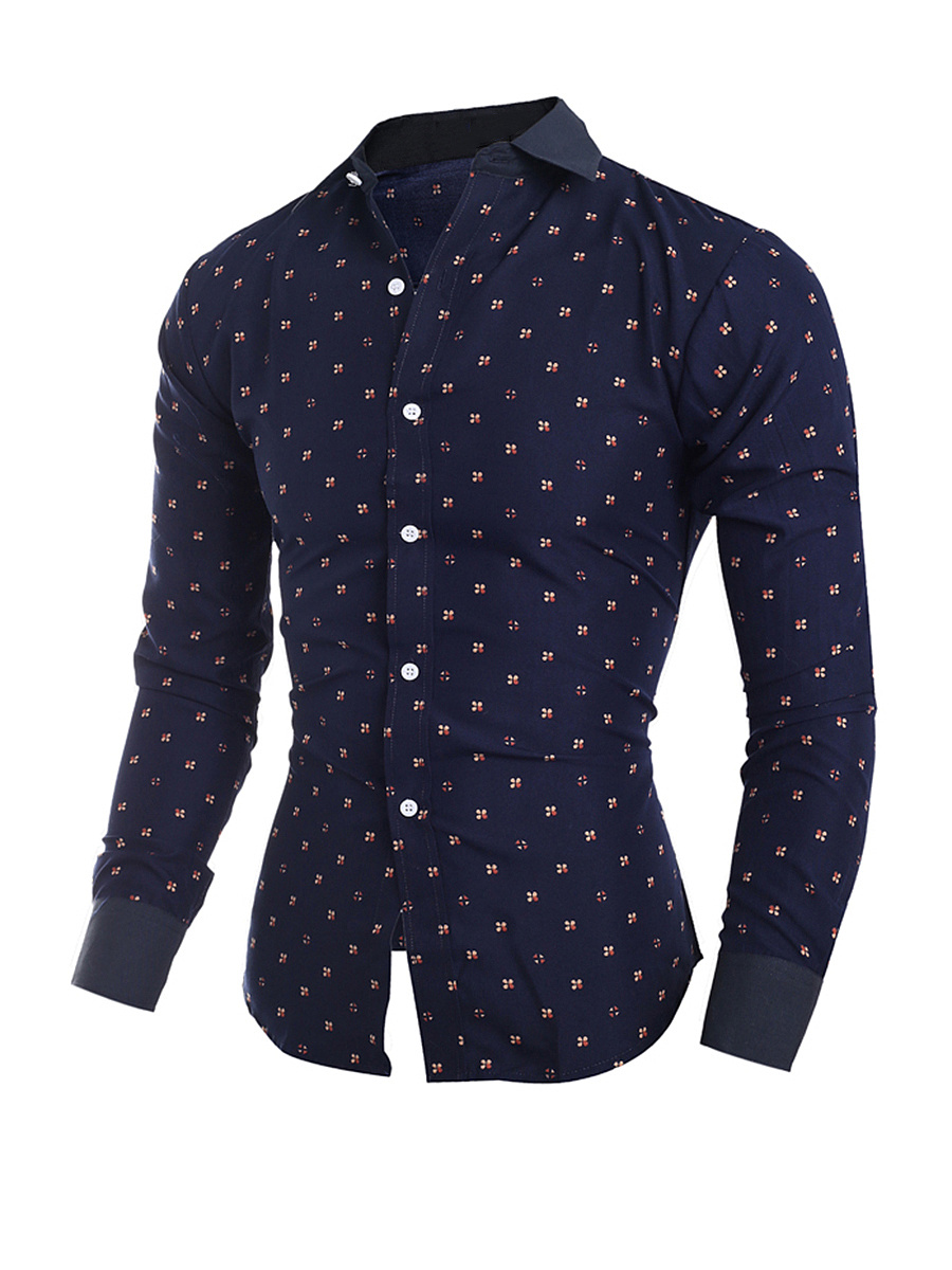 Allover Floral Printed Turn Down Collar Single Breasted Men Shirt