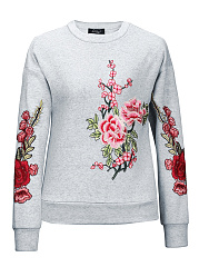 Floral-Plain-Long-Sleeve-Sweatshirts