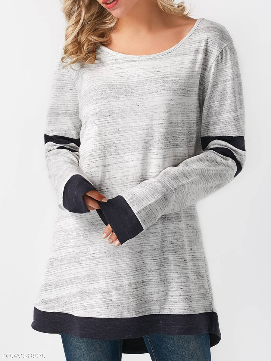 Autumn Spring  Polyester  Women  Round Neck  Contrast Piping  Plain Long Sleeve T-Shirts