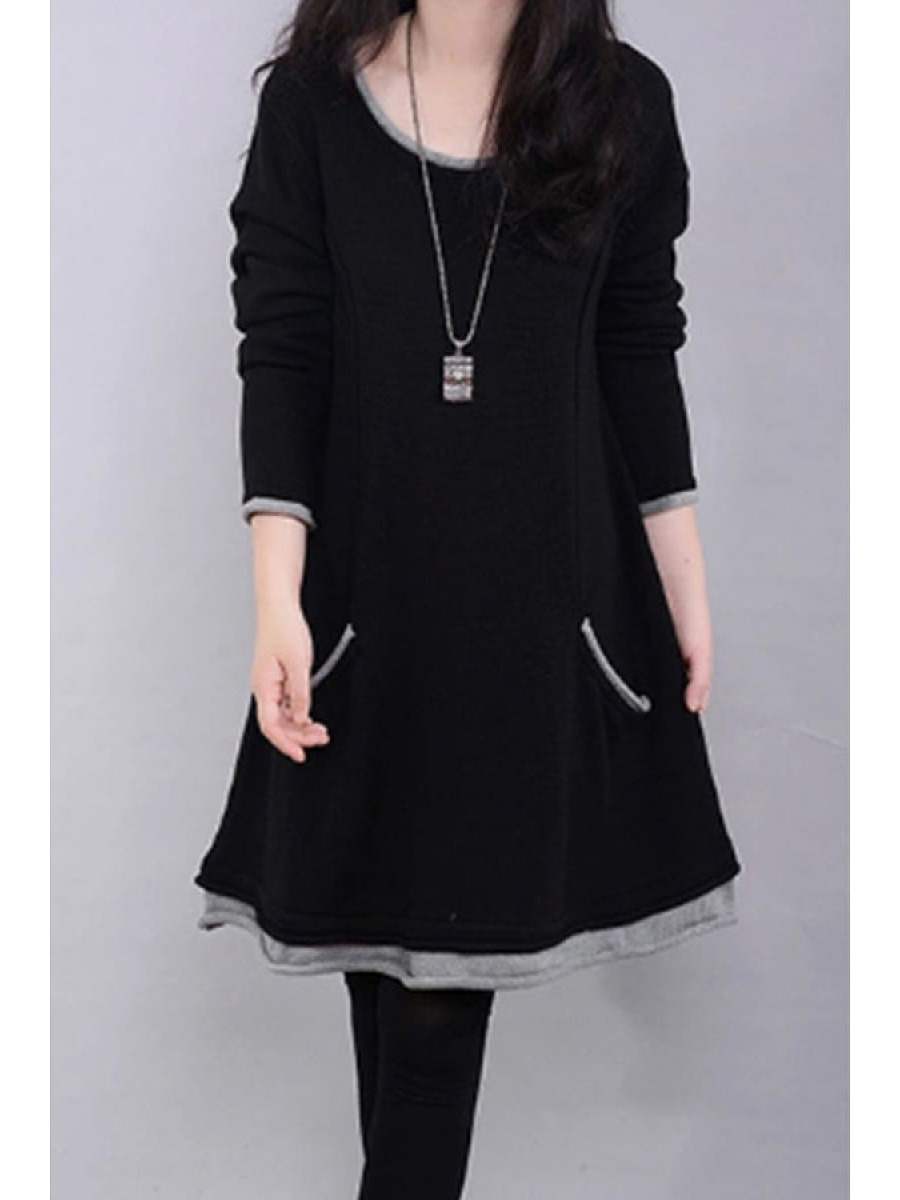 Round Neck  Contrast Trim Patch Pocket  Color Block Shift Dresses