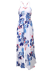 Printed Spaghetti Strap Crop Top And High Slit Flared Maxi Skirt