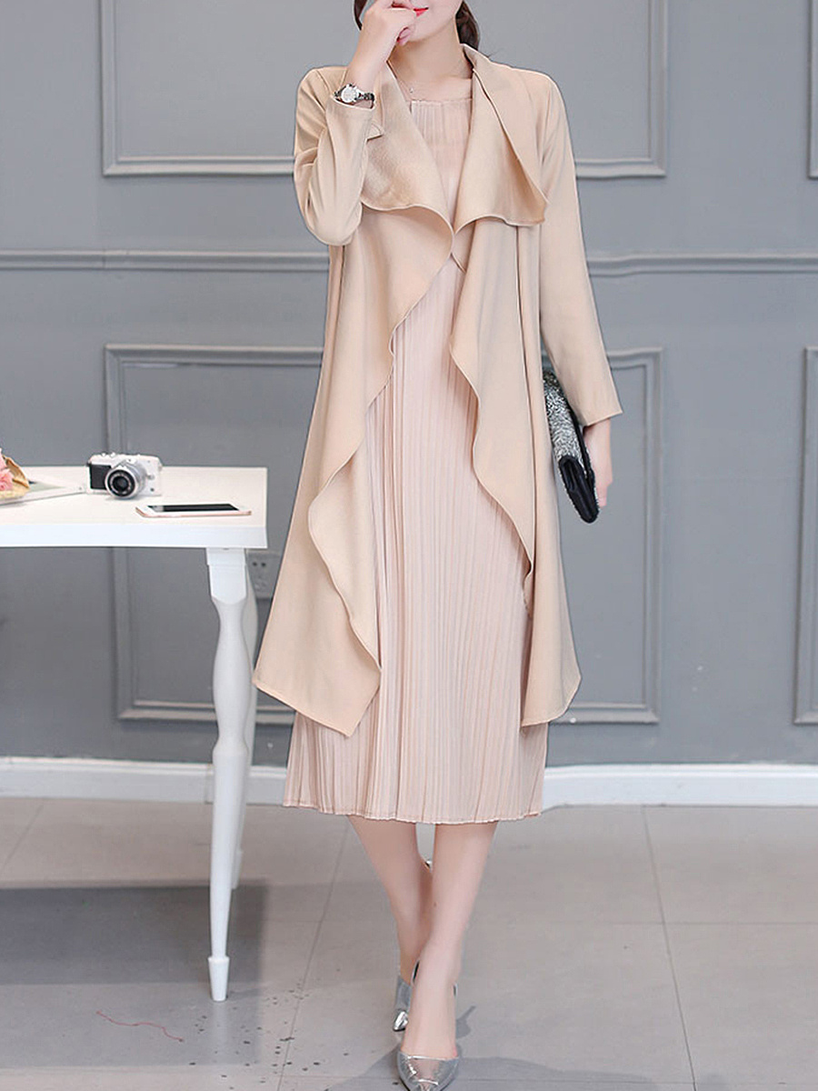 Lapel Solid Two-Piece Long Dress